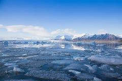 Floating icebergs in Jokulsarlon lagoon Iceland Stock Photos