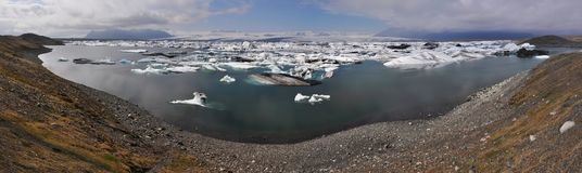 Floating icebergs, panorama view, Iceland Royalty Free Stock Images