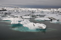 Floating icebergs, panorama view, Iceland Stock Photos