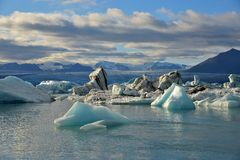 Floating icebergs on water surface Royalty Free Stock Images