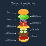 Floating ingredients for a burger. Vector illustration. Floating ingredients for a burger on a black background. Design for the menu, poster, banner cafe fast Stock Photos