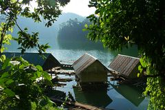 Floating inside the house. Chiao Lan Dam. Surat Thani Province. Thailand stock photography