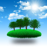 Floating island. Floating grassy island with tree under sunshine. 3d rendering Stock Image