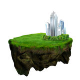 Floating island 3d model and digital illustration Royalty Free Stock Image