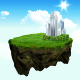Floating island 3d model and digital illustration Royalty Free Stock Photos