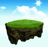 Floating island 3d model and digital illustration Stock Image