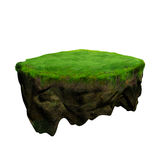 Floating island 3d model and digital illustration Stock Images