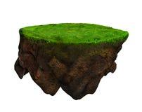 Floating island 3d model and digital illustration stock photo