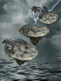 Floating island with dragons. And fantasy landascape Royalty Free Stock Photos