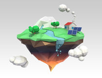 Floating island for ecology concept. House energy support by solar power. Clipping path available Royalty Free Stock Photo