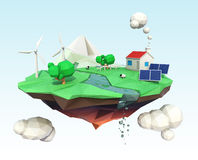 Floating island for ecology concept. House energy support by solar and wind power. Clipping path available Royalty Free Stock Photos