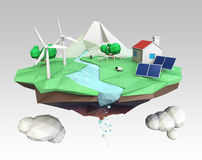 Floating island for ecology concept. House energy support by solar and wind power. Clipping path available Stock Image