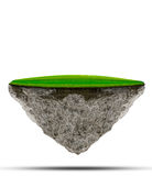 Floating island of green grass field on rock land use for abstract background backdrop Royalty Free Stock Images