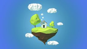 Floating island with house and clouds in the sky stock video footage