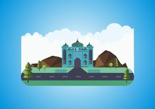 Floating island with mosque Royalty Free Stock Images