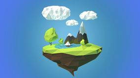 Floating island with mountain and clouds in the sky stock video