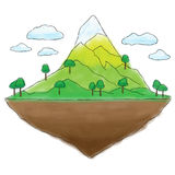 Floating island mountain doodle Royalty Free Stock Photo