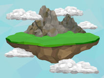 Floating island with mountains Royalty Free Stock Photography