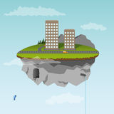 Floating island with part of city Stock Photography