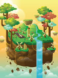 Floating Island. Island floating in the sky with trees, windmill, houses, and waterfall Royalty Free Stock Images