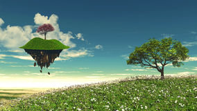Floating island with tree landscape Stock Photos
