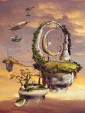 Floating islands and flying machines Stock Images
