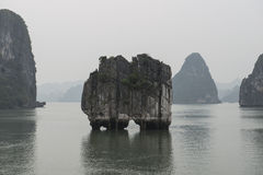 Floating islands in Halong Bay in winter, Vietnam. Winter sea with floating islands in Halong Bay, Vietnam stock photos
