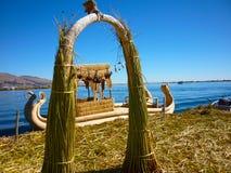 Isla flotantes de los Uros on the lake Titicaca, Peru stock images