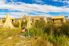 Floating  Islands on Lake Titicaca Puno, Peru, South America. Dense root that plants Khili interweave Royalty Free Stock Image