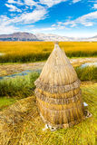 Floating  Islands on Lake Titicaca Puno, Peru, South America,thatched home Royalty Free Stock Photo