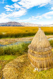 Floating  Islands on Lake Titicaca Puno, Peru, South America,thatched home. Dense root that plants interweave Royalty Free Stock Images