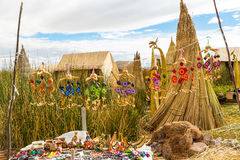 Floating Islands on Lake Titicaca Puno, Peru, South America, thatched home. Stock Photography