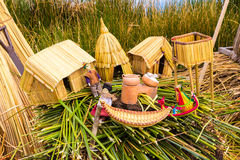 Floating Islands on Lake Titicaca Puno, Peru, South America, thatched home. Dense root that plants Khili Royalty Free Stock Photography