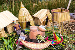 Floating Islands on Lake Titicaca Puno, Peru, South America, thatched home. Dense root that plants Khili Stock Images