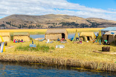 Floating Islands on Lake Titicaca Puno, Peru, South America, thatched home. Royalty Free Stock Images