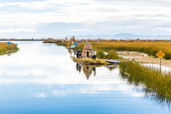Floating  Islands on Lake Titicaca,South America, located on border of Peru and Bolivia. It sits 3,812 m above sea level Royalty Free Stock Image