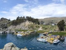 Floating islands of Lake Titicaca, Bolivia. royalty free stock images