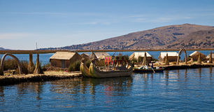 The floating Islands of lake Titikaka Stock Images