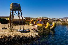 Floating islands made up of Totora reed near Huatajata, Bolivia Stock Images