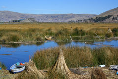 Floating islands on titicaca lake Royalty Free Stock Image