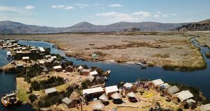 Floating islands of Uros at Lake Titicaca video stock video