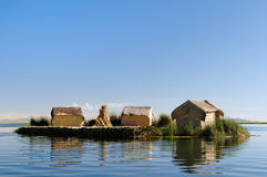Floating islands Uros in Peru Royalty Free Stock Photo
