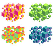 Floating isometric group of cubes composition over white Royalty Free Stock Photos