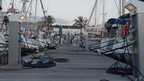 Floating jetty with yachts in marina on Gran Canaria in soft evening light. Floating jetty with yachts in marina on Gran Canaria stock footage
