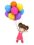 Floating kid with balloons Royalty Free Stock Image