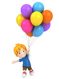Floating kid with balloons Stock Photography