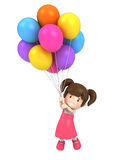 Floating kid with balloons Stock Images