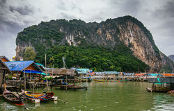 Floating Koh Panyi settlement muslim fishing village built on stilts. Phang Nga Bay, Krabi, Thailand Royalty Free Stock Images