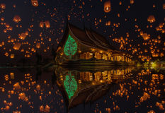Floating lamp in yee peng festival at pagoda tree glow temple Wat Sirindhorn Wararam, Sirindhorn District, Ubon Ratchathani Stock Images