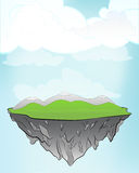 Floating land as flying island concept in sky vector Stock Image